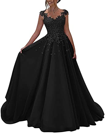 f841fe37786 2018 Lace Appliqued Evening Dress For Women V Neck Floor Length Prom Party  Gown Formal Empire