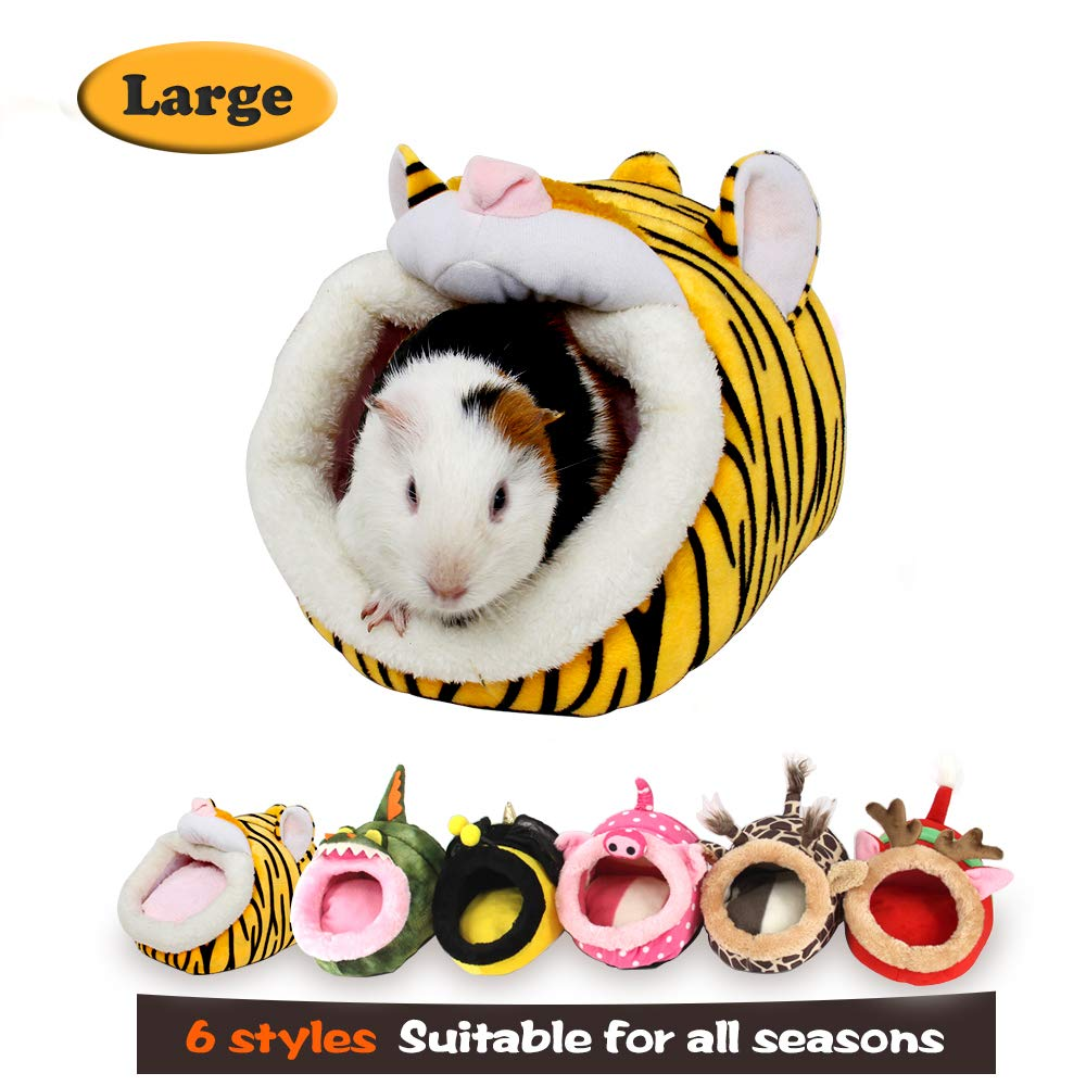 MYIDEA Warm Guinea Pigs Bed,Hedgehog Winter Nest,Rat Chinchillas & Small pet Animals Bed/Cube/House, Habitat, Lightweight, Durable, Portable, Cushion Big Mat (Small Pet - L, Tiger)