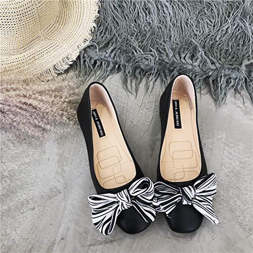 37 Cmodos Negro Superficial De Maternidad Wulifang Fondo Sharp Bow Blanco Zapatos Slido Blando Arroz 0ExvROq
