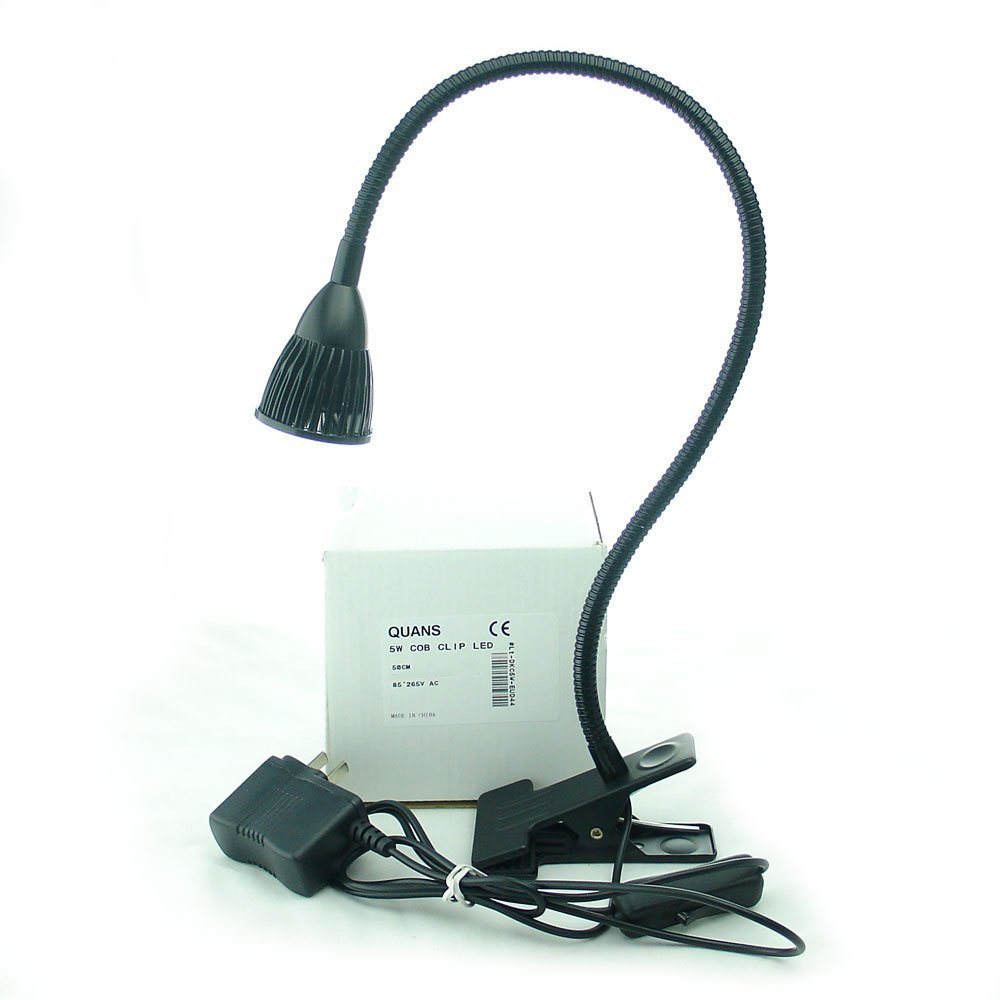 QUANS 5W Clip on Clamp Gooseneck COB LED Desk Table Light lamp Cool White 19inch Neck Black
