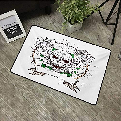 Anzhutwelve Skull,Mats Skull Figure with Nose and Cross Axes Grunge Style Black Christmas Icon Scary Design W 16