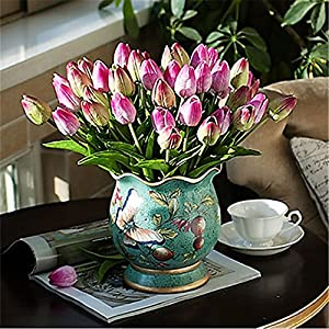 JJH 1 Branch PU Real Touch Tulips Tabletop Flower Artificial Flowers 3