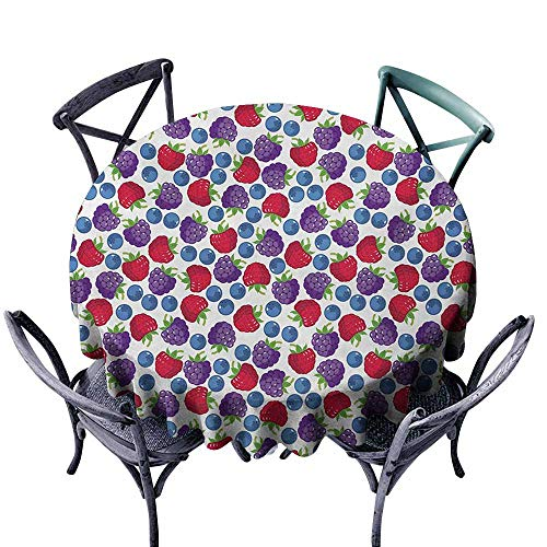 VIVIDX Indoor/Outdoor Round Tablecloth,Colorful,Wild Fruits Collections Raspberry Blueberry and BlackBerry Fresh Healthy Options,Table Cover for Home Restaurant,40 ()