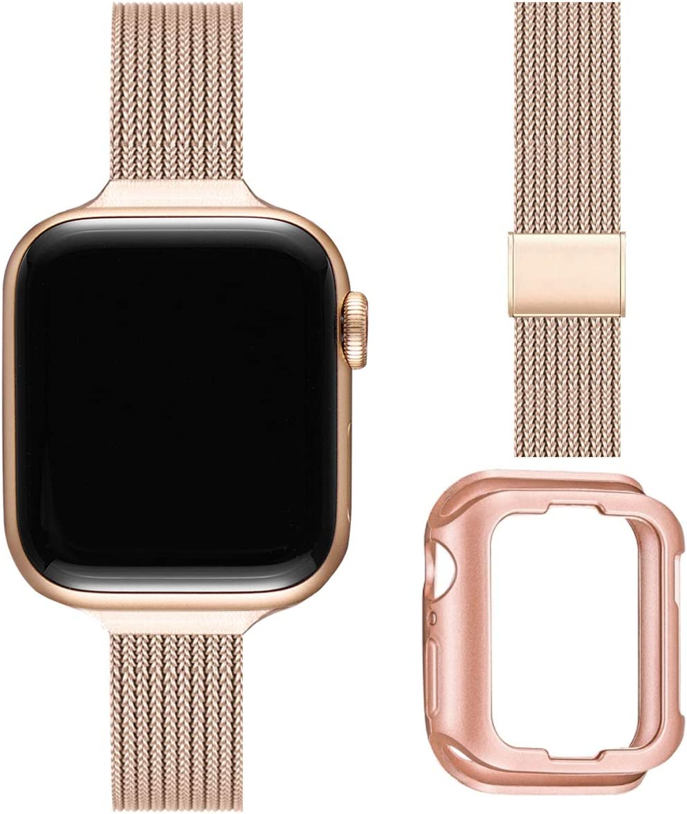 ZXCASD Slim Watch Band Compatible with Apple Watch Band 38mm 40mm 42mm 44mm for Women Girls, Stainless Steel Mesh Strap Replacement for iWatch SE iwatch Series 6/5/4/3/2/1 (Rose Gold, 38mm 40mm)