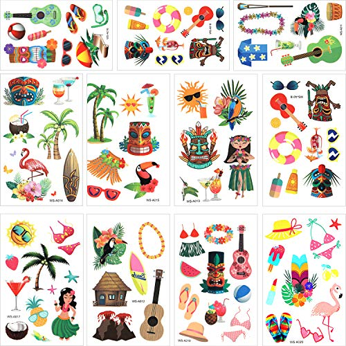 316 Pieces Hawaiian Luau Themed Temporary Tattoos Tropical Tattoos for Tropical Hawaiian Summer Beach Party Decoration Supplies, 79 -