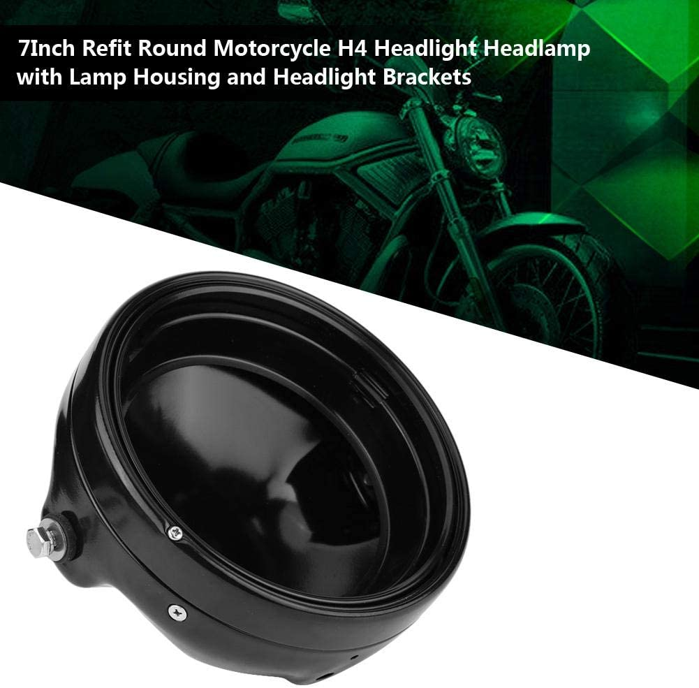 H4 7 Motorcycle LED Headlight Round Refit Automobile Headlights LED with Lamp Housing and Headlight Brackets,6500K light