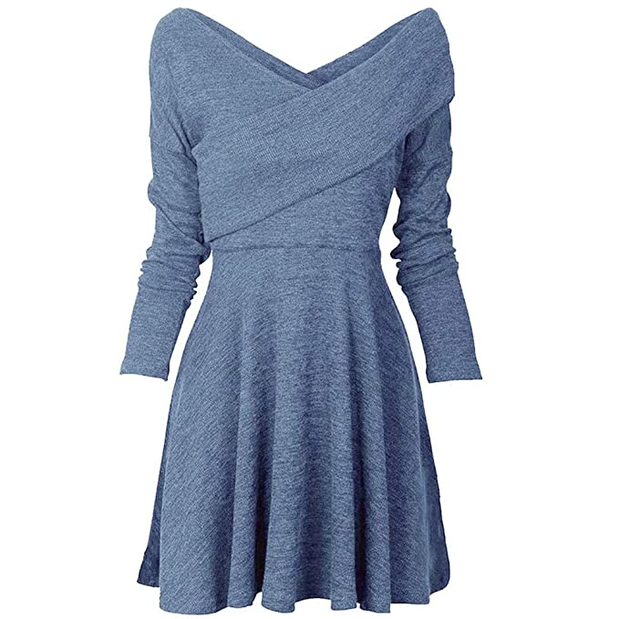 Falda Fiesta, BBestseller Primavera Mujer Elegante Camiseta Cuello V Casual Manga Larga Vestido de Fiesta Playa Faldas Boho Mini Party Dress: Amazon.es: ...