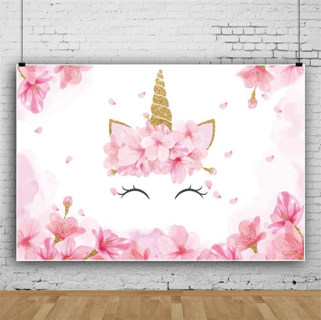 Yeele 10x8ft Unicorn Birthday Background for Photography Happy Birthday Party Decoration Pink Flowers Bud Rose Boy Girl Child Photo Backdrop Portrait Studio Props Wallpaper
