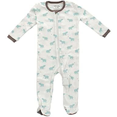 1cec95b2fc6 Silkberry Baby Unisex-Baby Organic Cotton Footie Sleeper Arctic Blue Bear  0-3m