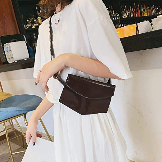 Women Waist Belt Bags Phone Pouch Bags Patent Leather Chest Fanny Packs