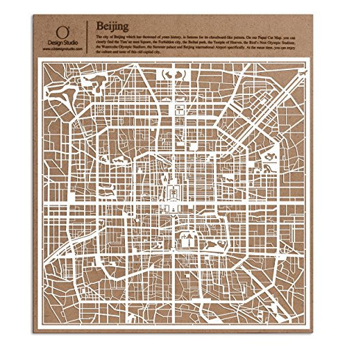 Beijing Paper Cut Map by O3 Design Studio White 12x12 inches Paper Art