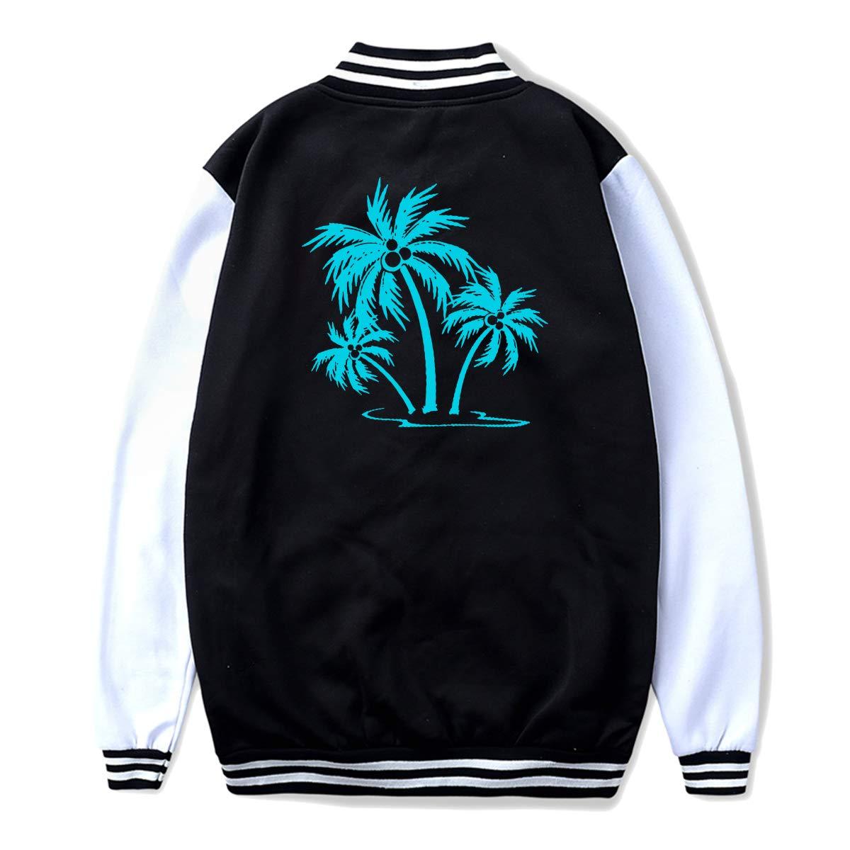 NJKM5MJ Unisex Teen Baseball Uniform Jacket Palm Tree Coat Sport Outfit Back Print