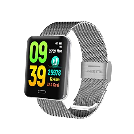 YsinoBear Reloj Elegante Nuevo Bluetooth B8, Hombres Cuadrados del sueño de la Pantalla de los