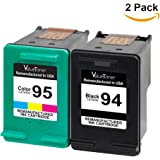 Valuetoner Remanufactured Ink Cartridge Replacement For Hewlett Packard HP 94 & HP 95 C9354BN C8765WN C8766WN (1 Black, 1 Tri-Color) 2 Pack