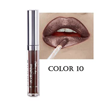 3d3643d9dc4 Amazon.com   Tolina Shimmer Liquid Pearl Frosted Lipstick Long Lasting Lip  Gloss Makeup Waterproof (12 colors available)   Beauty