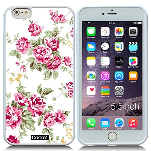 [New Apple iPhone 6 s Plus 5.5-inch CocoZ? Case Beautiful roses flowers designs TPU (White TPU& Rose Flowers] (Dollar Jumbo Glasses)