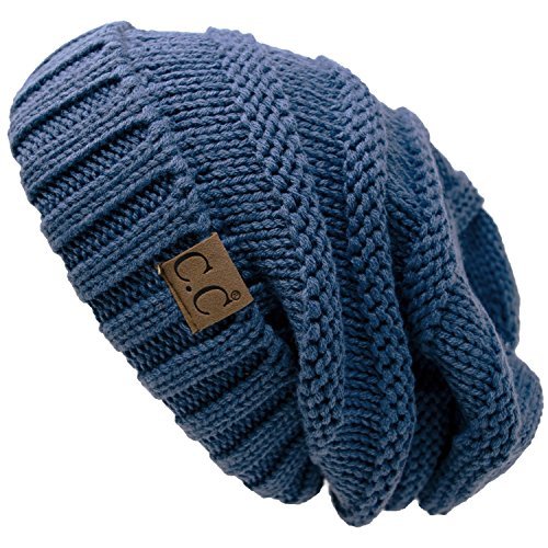 - H-6100-75a Oversized Slouchy Beanie - Dark Denim