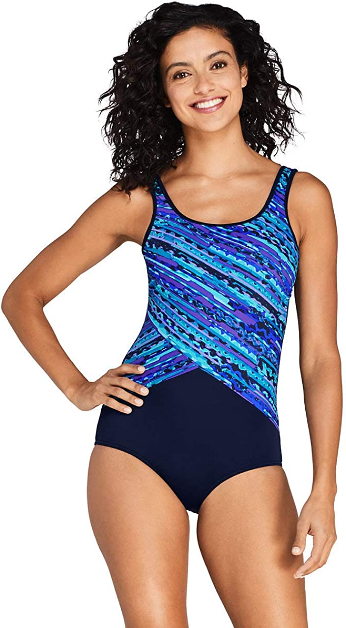 Lands' End Women's Chlorine Resistant Scoop Neck Soft Cup Tugless Sporty One Piece Swimsuit