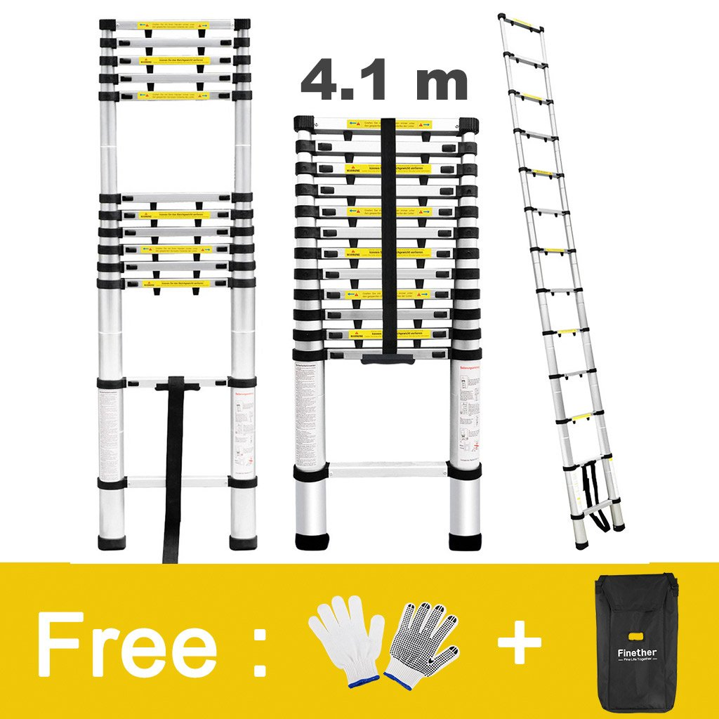 Finether 13.5ft Aluminum Telescopic Extension Ladder   Multi-purpose Telescoping Ladder,EN 131 Certified with Finger Protection Spacers, Anti-slip Treads and 331 lbs Capacity