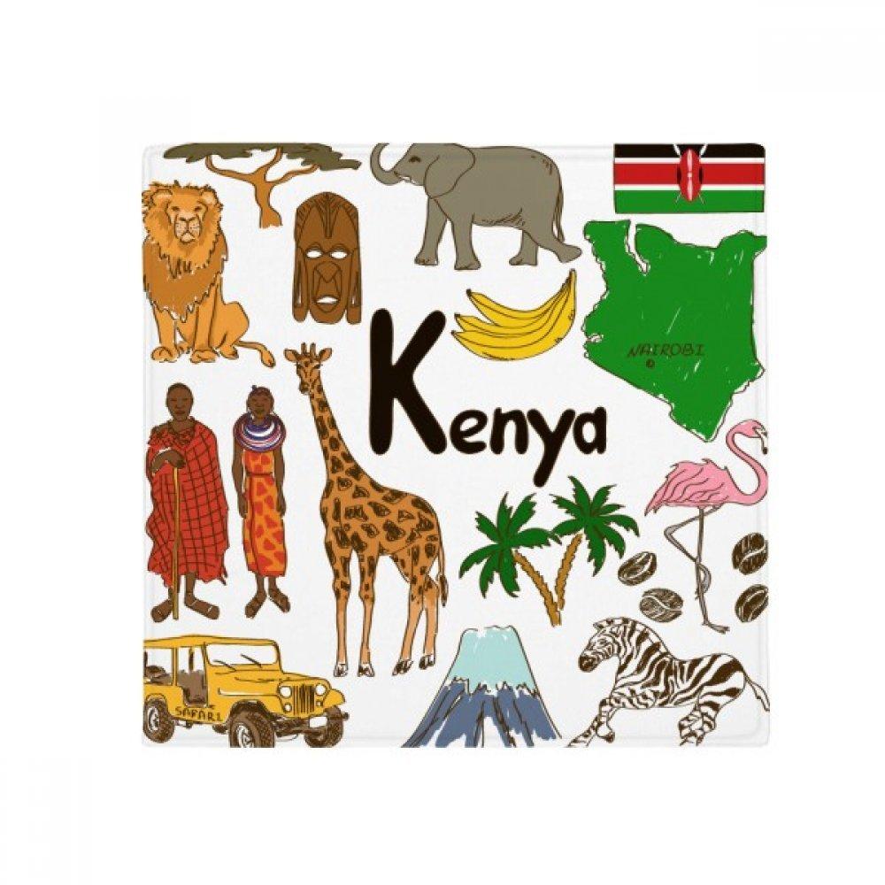 60X60cm DIYthinker Kenya Landscap Animals National Flag Anti-Slip Floor Pet Mat Square Bathroom Living Room Kitchen Door 60 50Cm Gift