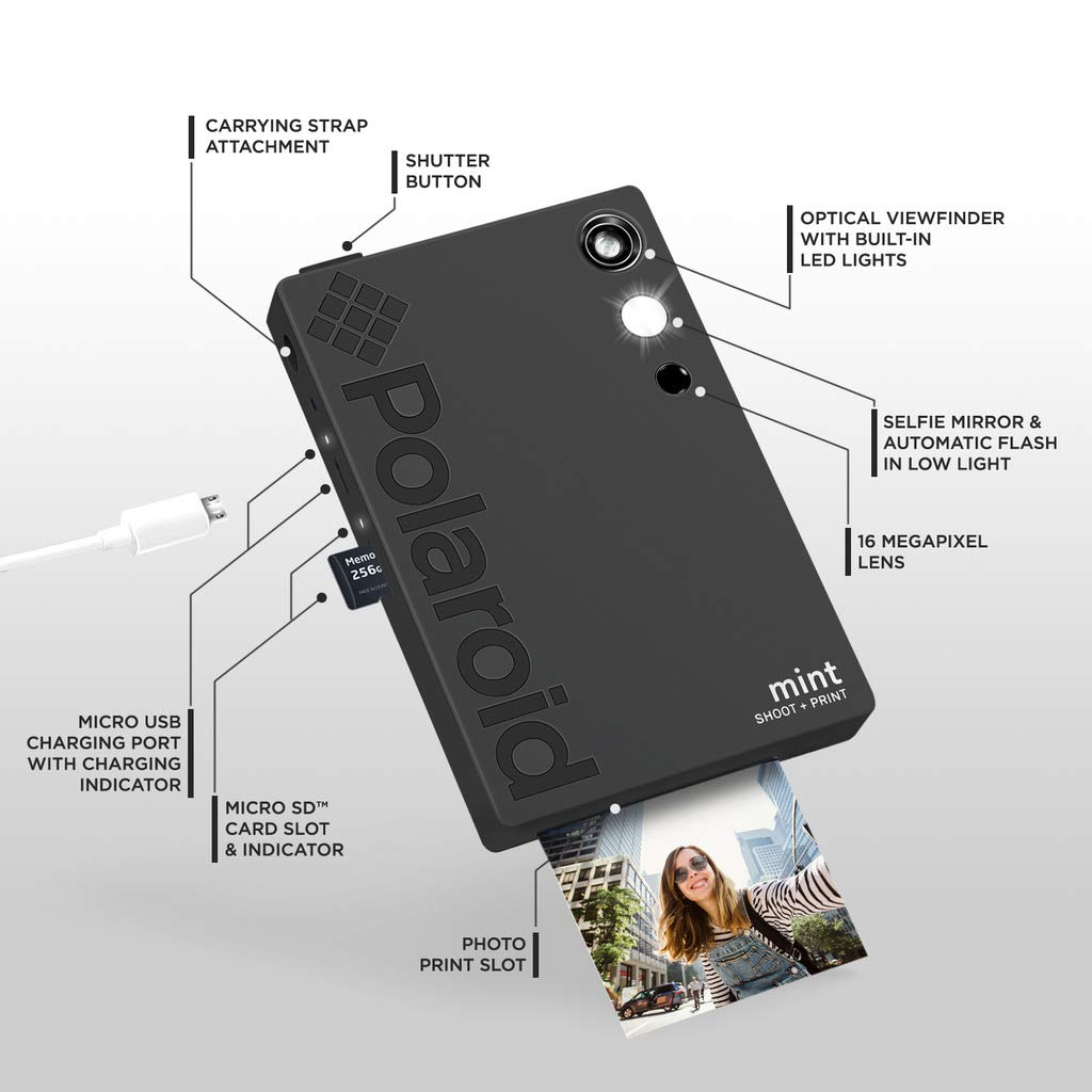Polaroid Mint Instant Digital Camera (Black) Art Bundle + Paper (20 Sheets) + 8x8 Cloth Scrapbook + Pouch + 12 Twin Tip Markers + 100 Border Stickers + 6 Decorative Scissors + Washi Tape by Polaroid (Image #4)