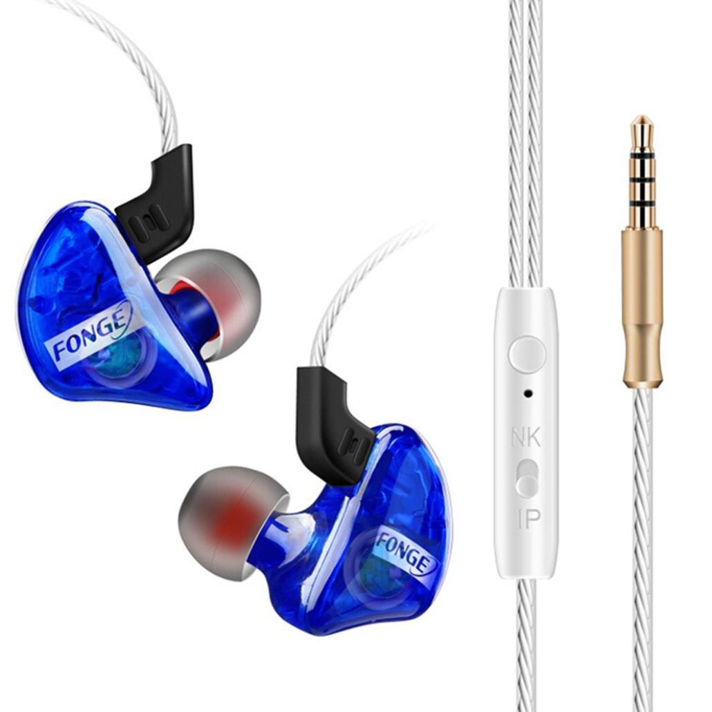 Xshuai Modische 3.5mm mit Mikrofon Bass Stereo In-Ear Universal Kopfhö rer 1.25M Kopfhö rer Headset Earbuds Kompatibilitä t mit Apple, Samsung, HP, HTC, Lenovo, LG (Blau Rot) (Blau)