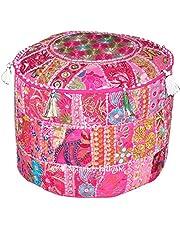 Indiase Boheemse patchwork poef, poef, poef, poef, voetenkruk, ronde poef, poef, poef, voetenbank, zitzak, vloerkussen Ottomaanse poef, 14 x 22 inch. Door Bhagyoday