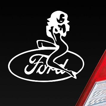 Auto Aufkleber In Deiner Wunschfarbe Für Ford Fans Frau Sexy Pin Up Girl Woman 11x10cm Autoaufkleber Sticker Folie Auto
