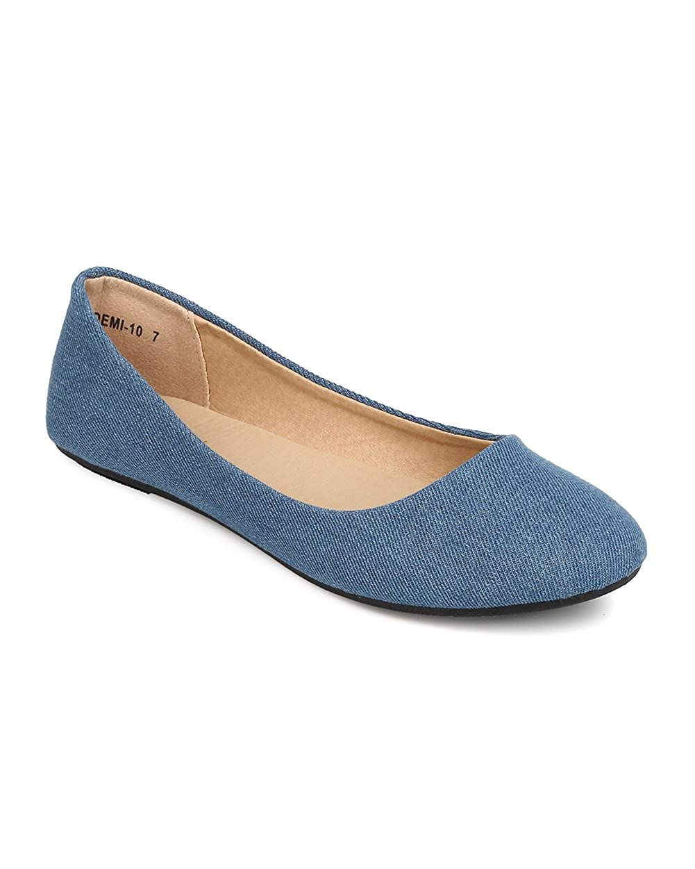 Refresh Women Denim Round Toe Ballerina Flat FA25 - Blue Denim B01HR01A18 6.5 B(M) US