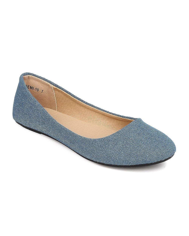 Refresh Women Denim Round Toe Ballerina Flat FA25 - Blue Denim B01HR017SY 6 B(M) US