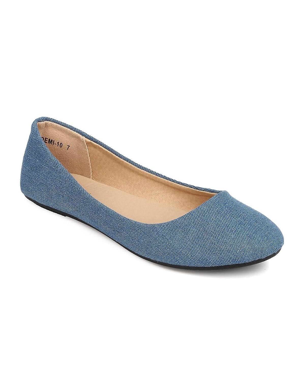 FA25 Women Denim Round Toe Ballerina Flat - Blue Denim