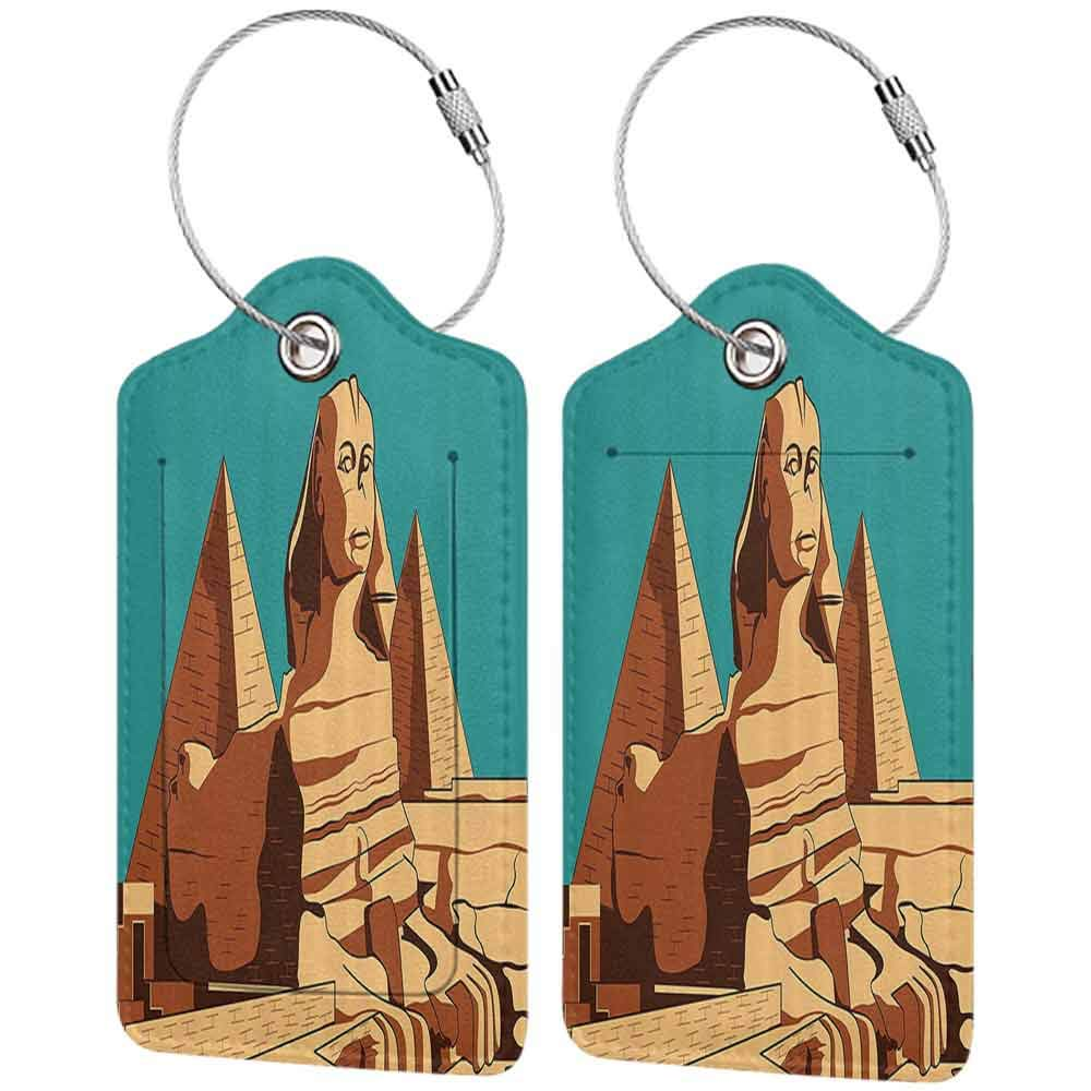 Modern luggage tag Egyptian Vintage Poster of Sphinx and Pyramids in Giza Ancient Famous Monument Cairo Suitable for children and adults Teal Light Brown W2.7 x L4.6
