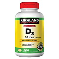 KIRKLAND SIGNATURE Maximum Strength Vitamin D3 2000 I.U. 600 Softgels, Bottle Personal...