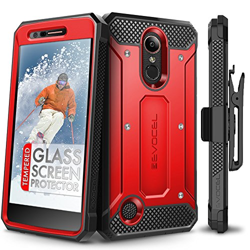 (LG K20 Plus Case, Evocel [Explorer Series] with Free [LG K20 Plus Glass Screen Protector] Premium Full Body Case [Slim Profile][Rugged Belt Clip Holster] for LG K20 Plus / K20 V/LG Harmony, Red)