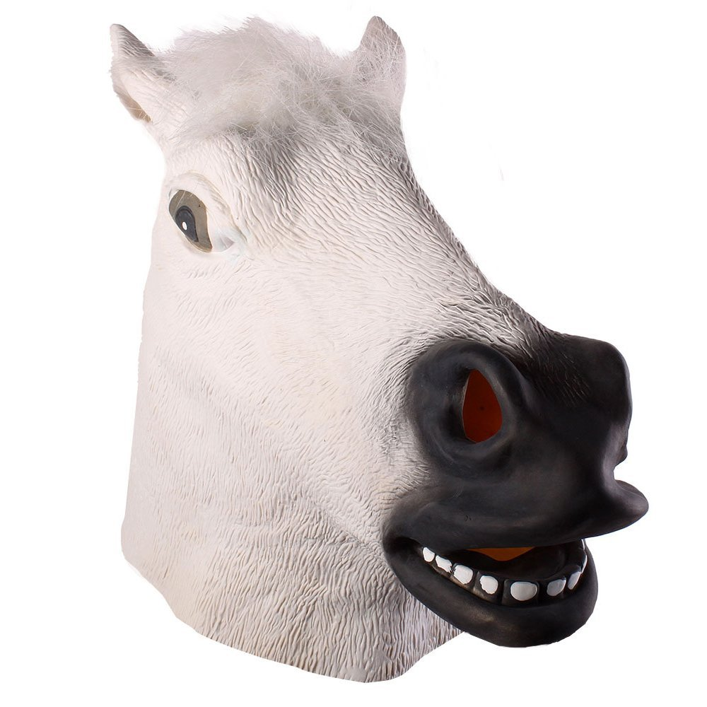 Autumn Water Full Head Mask Horse Head Mask Creepy Fur Mane Latex Realistic Crazy Rubber Super Creepy Party Halloween Costume Animal Mask by Autumn Water (Image #3)