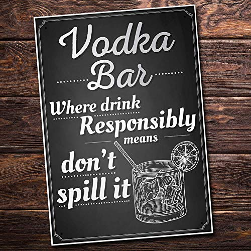 - Vodka Bar Drink Responsibly Alcohol Party Novelty Birthday Gift Garden Pub Friendship Sign Funny Wooden Sign Home Decor Wall Hanging Plaque