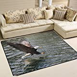American Bald Eagle Playmat Floor Mat For Dining Room Living Room Bedroom, 7'x5' and 5'3''x4'