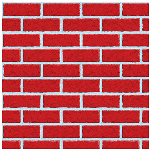 40ft Christmas Scene Setter Red Brick Wall Room Roll Party Decoration ()