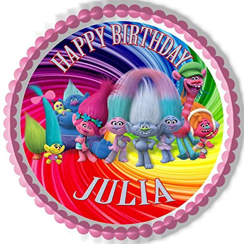 """TROLLS MOVIE COOPER PARTY 7.5/"""" PERSONALISED ROUND EDIBLE ICING CAKE TOPPER"""