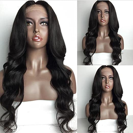 Fennell 100% Brazilian Human Hair Body Wave Full Lace Wigs With Baby Hair Natural Color Human Hair Lace Front Wigs For Ladies (18 inches, Lace front wig)
