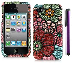 Apple Iphone 4, 4s Phone Protector Hard Cover Case Flower Full Diamond Rhinestone With Purple Touch Screen Stylus Pen And Screen Protector (AT&T, Verizon, Sprint)