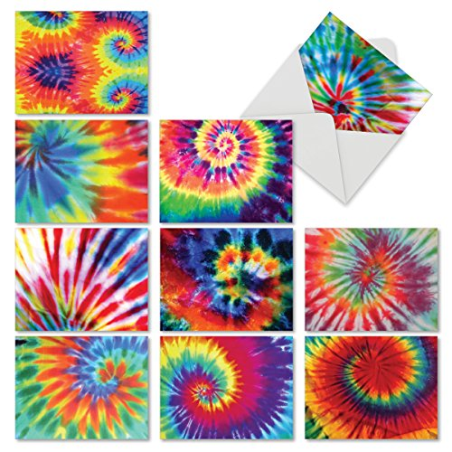 Tie Dye Paper (Assortment of Blank Greeting Cards with Envelopes 4 x 5.12 inch with Tie-Dye Theme - All-Occasion 'To Dye for' Stationery Set (Box of 10) for Thank You, Party Invite or)