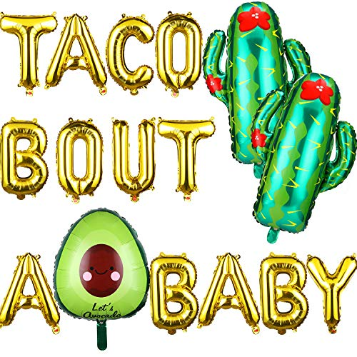 18 Pieces Taco Bout A Baby Balloons Decorations Supplies, Fiesta Theme Baby Shower Pregnancy Announcement Gold Letter Balloons, First 1st Birthday Party Gender Reveal Party Supplies