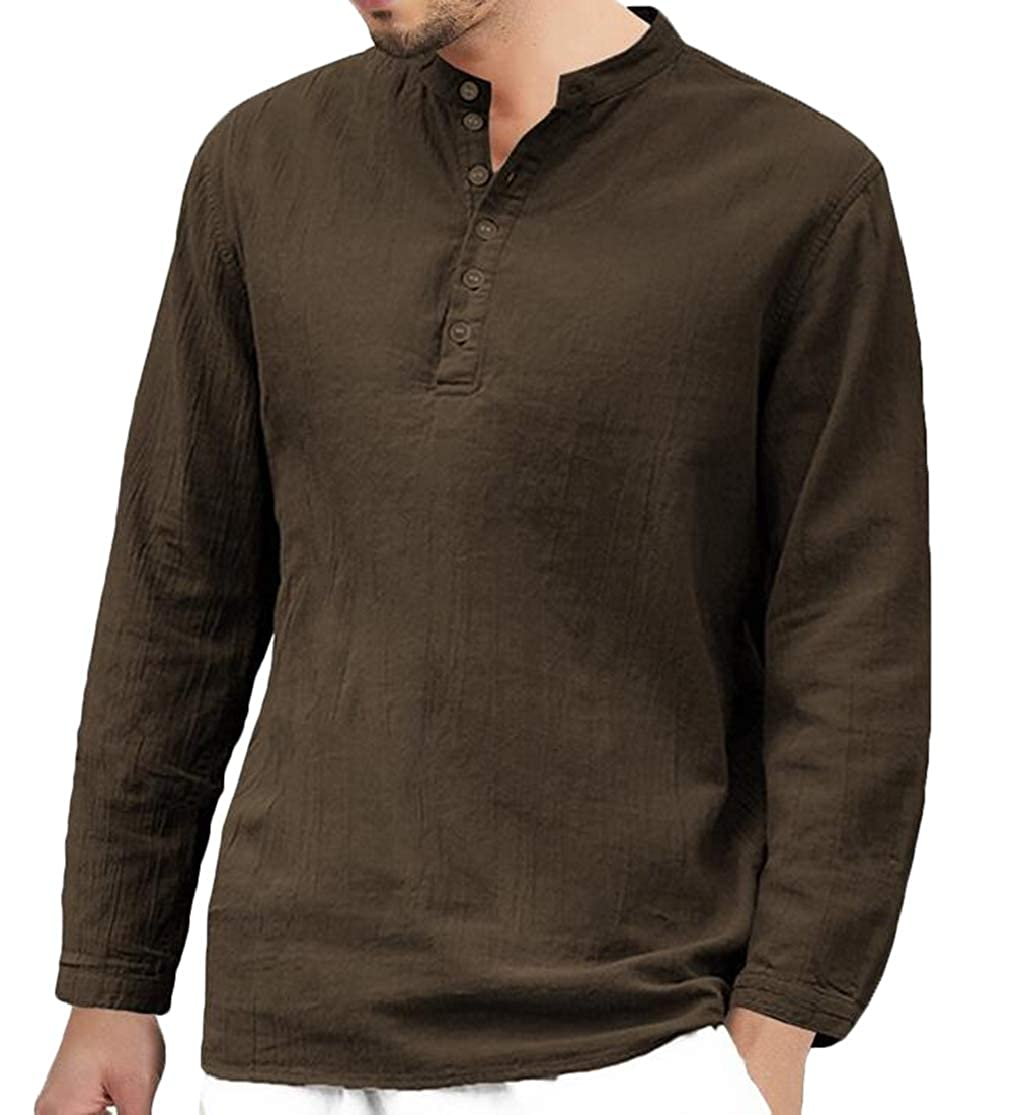 Domple Men Casual Long Sleeve Linen Buttons Stand Collar T-Shirts Tops