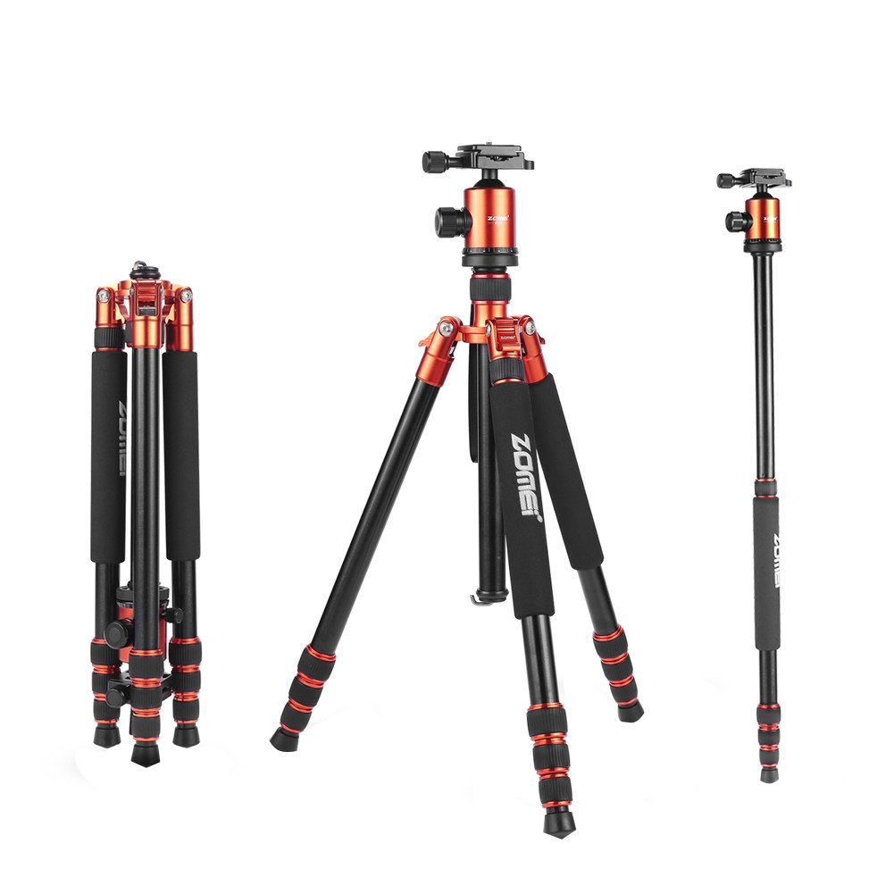 ZOMEI Tripod,Camera Tripod,Heavy Duty Camera Tripod Camera Travel Z818 Tripod Aluminium Alloy Monopod with 360 Panorama Ball Head Quick Release Plate Ball for DSLR Canon Sony Nikon Cameras(Orange) by ZoMei