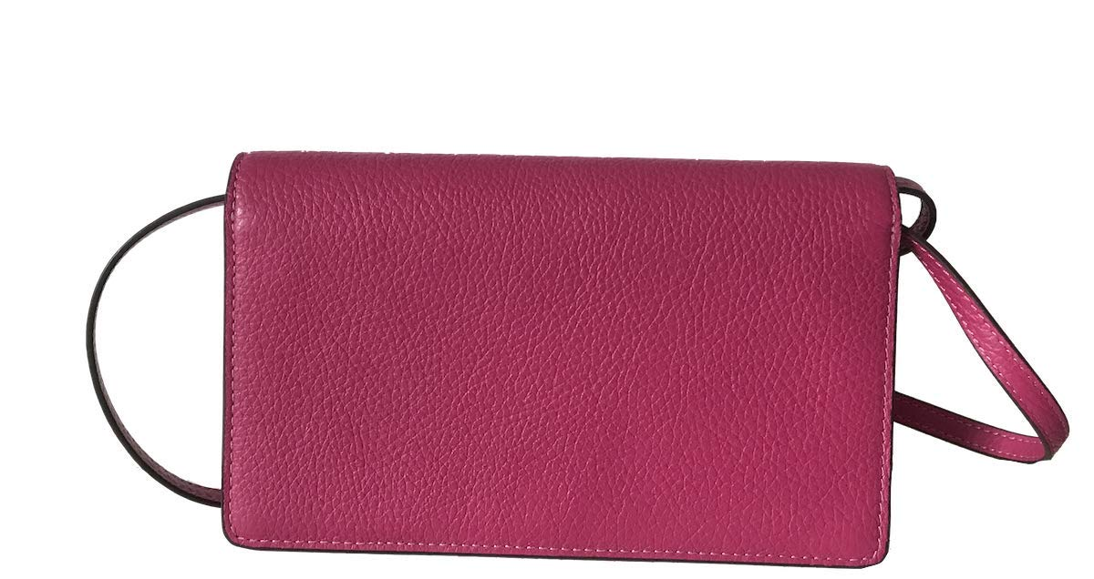 Coach Foldover Clutch Wallet Pebbled Leather Crossbody Bag (Cerise) by Coach (Image #4)