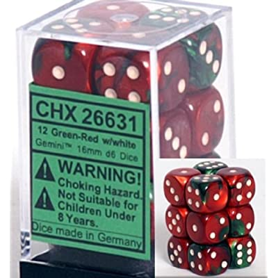 Chessex Dice d6 Sets: Gemini Green & Red with White - 16mm Six Sided Die (12) Block of Dice: Toys & Games [5Bkhe1000862]