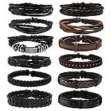 Milakoo 12 Pcs Braided Leather Bracelets for Men Women Cuff Bracelet, Adjustable