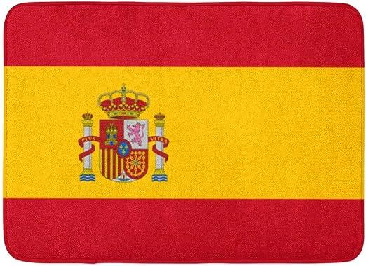 Alfombras de baño Alfombras de baño Alfombra de puerta para exteriores / interiores Barcelona roja de la bandera española Símbolo de España Precisión de armas Color Decoración para el baño Alfombra Al: