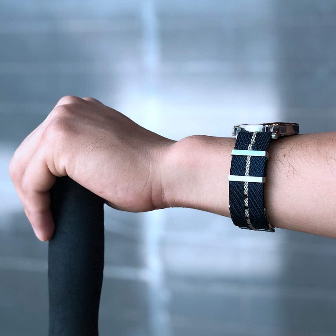 20mm/22mm Nylon NATO Montre Bracelet Bracelet de Rechange Ardillon Montre Militaire Bande pour Hommes Green White